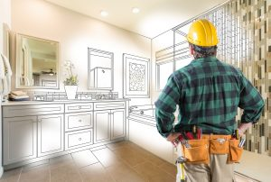 contractor facing bathroom remodel plans