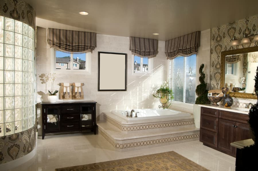 Modern home design bathroom interior.