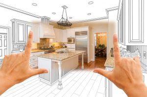 black and white kitchen drawing with hands framing colorful section
